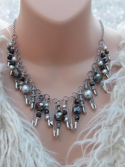Safety pin necklace - dark