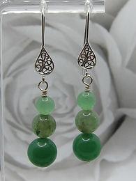 Aventurine & silver filigree earrings