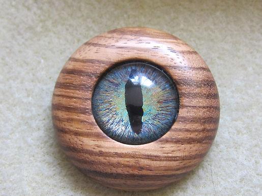 Dragon's Eye and wood brooch