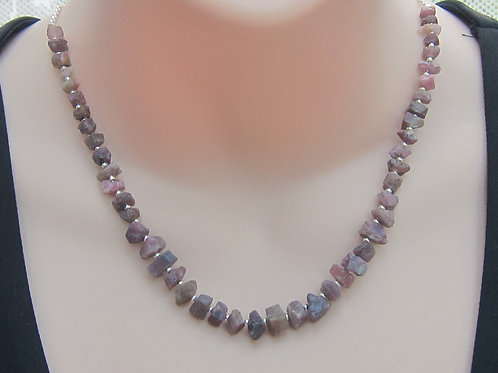 Natural pink tourmaline and silver necklace