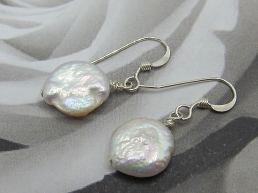 Coin pearl and silver earrings