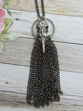 Gunmetal chain and bird skull necklace