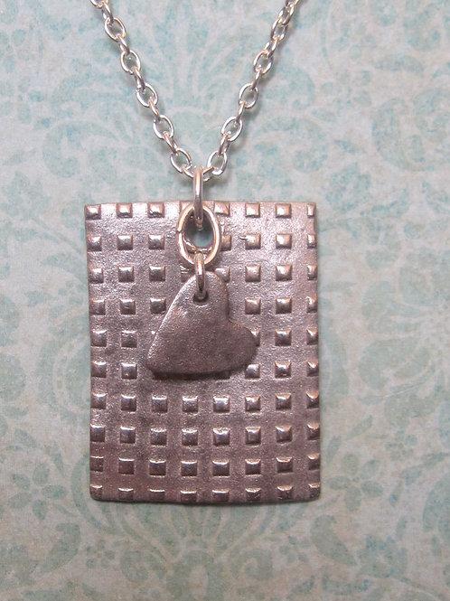 White bronze handmade pendant with chain