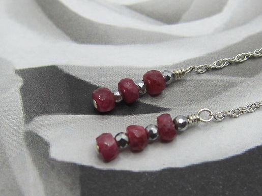 Ruby, haematite & 925 silver long drop earrings