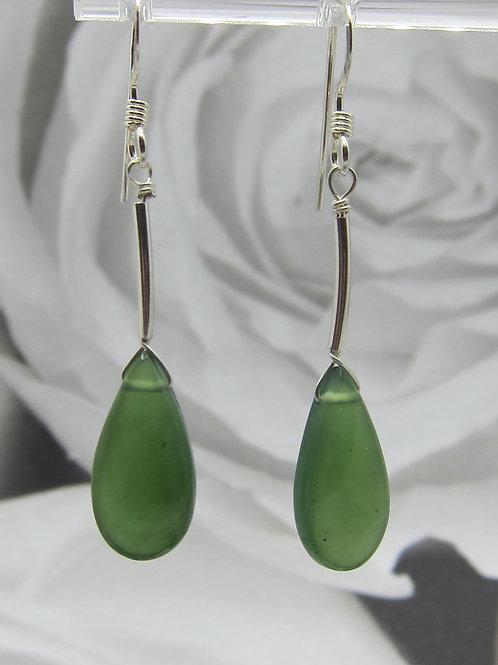 Serpentine and sterling silver drop earrings