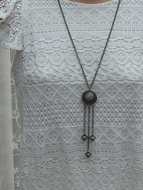 Tassel and stone bead necklace