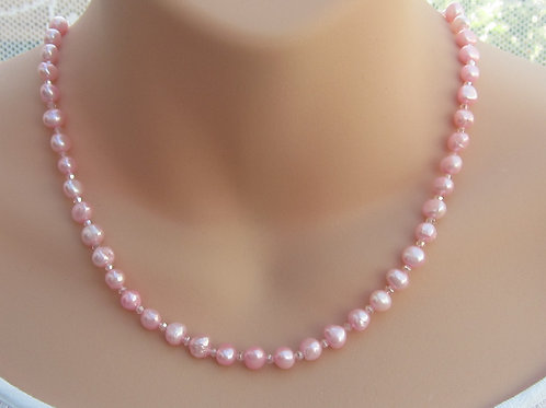 Soft pink pearl and silver necklace