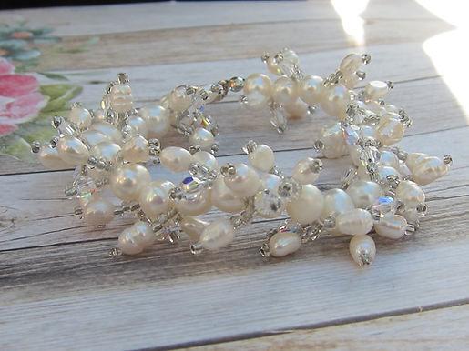 Pearl and swarovski bead bracelet with 925 silver