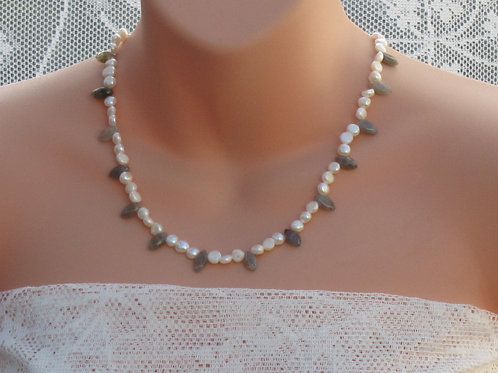 Freshwater pearl and labradorite necklace