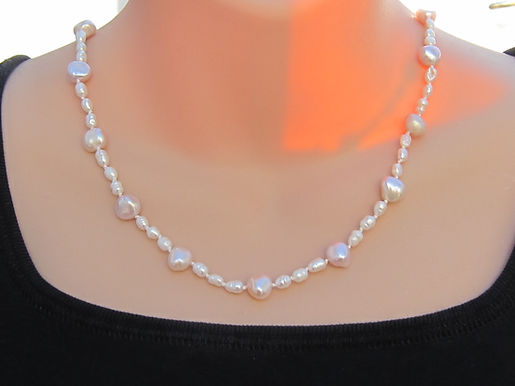 Cream and lilac pearl necklace with 925 silver