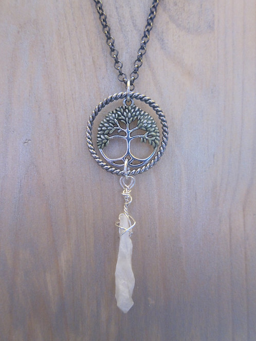 Quartz  drop and tree of life necklace