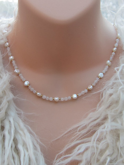 Rainbow moonstone and pearl necklace and earrings set