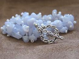 Blue lace agate bubble bracelet with toggle clasp