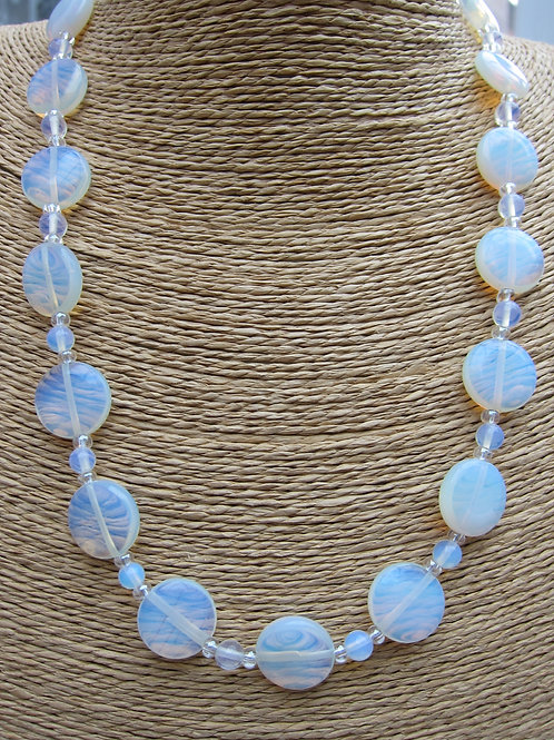 Opalite and lustre bead necklace