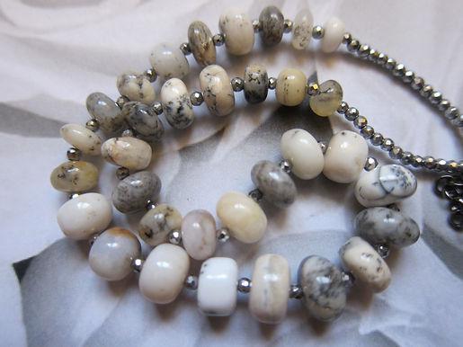 Dendrite opal & haematite necklace