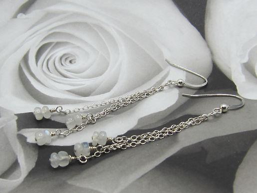 Rainbow moonstone and 925 silver long drop earrings