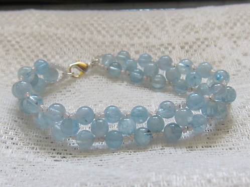 Aquamarine woven bracelet