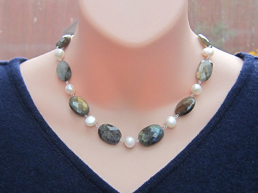 Labradorite and pearl statement necklace