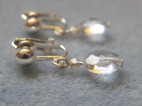 Glass coin and crystal clip on earrings