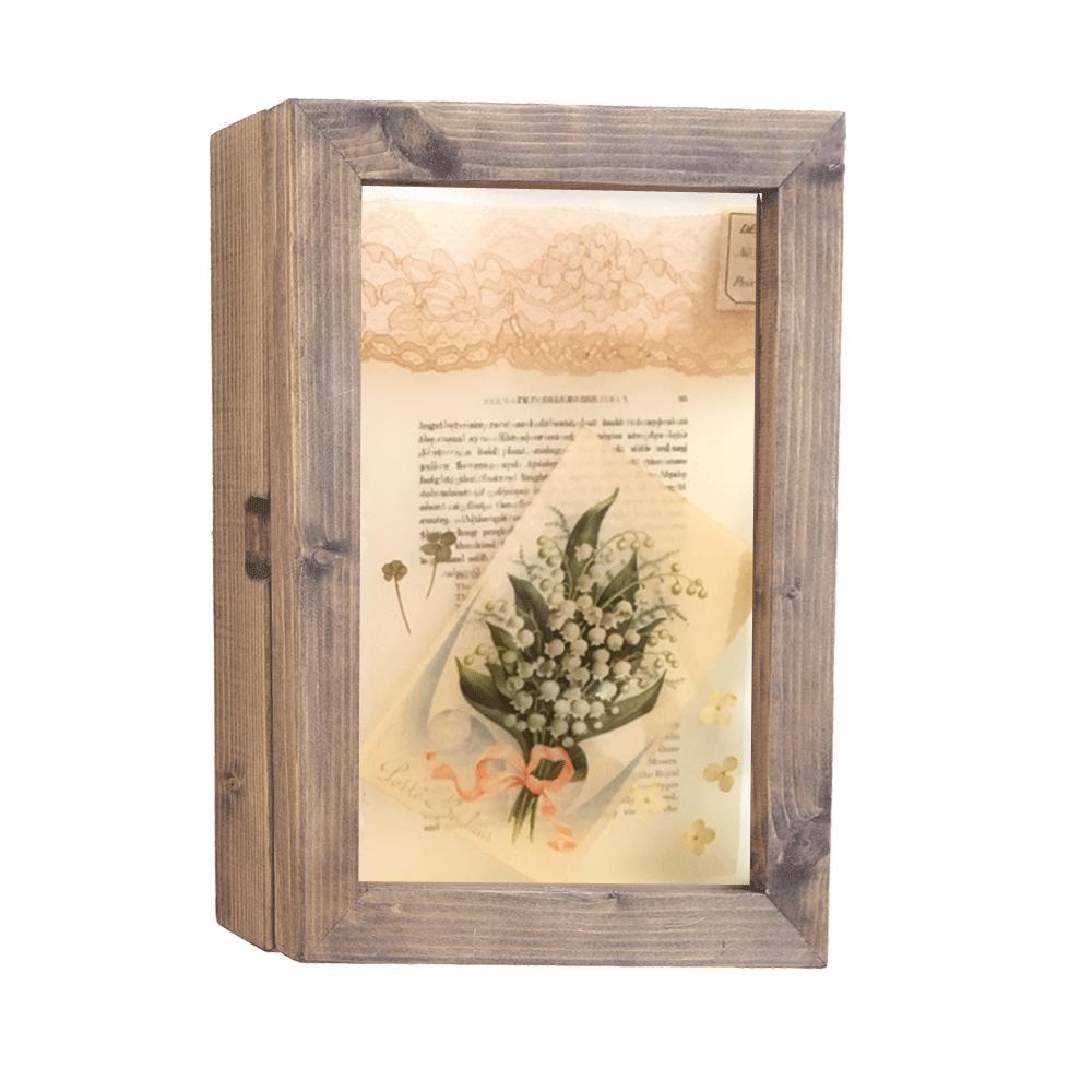 すずらんのアンティークポストカードとセピアカラーの押し花