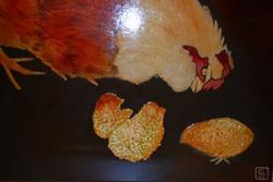 Poule et poussins - détail