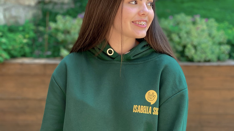 Adult Green hand logo Hoodie with Yellow Isabella Signs Logo (The Tommo)