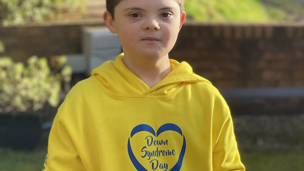 Kids Yellow World Down Syndrome day Hoodie