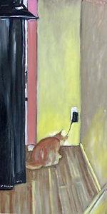 Checking The Land Line (24 x 12) oil on