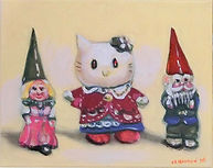 White Cat Adopted by Gnomes (8x10) oil o