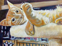 Paws With Claws (9 x 12) oil on canvas.j