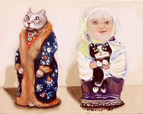 Olga and the Russian Cats (8 x 10) oil o