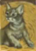 Kitten In Wicker (5 x 7) oil on canvas.j