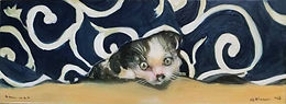 Feline Undercover (8x22) oil on linen.jp