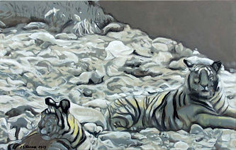 Dry River Bed With Two Cats (18 x 28) oi