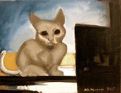 Kitten of Mystery (8 x 10) oil n canvas.