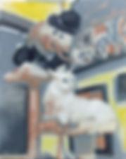 Improbable Indoor Snowman (14 x 11) oil