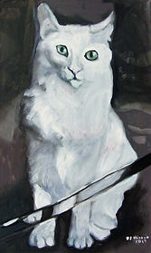 White Cat Illusionist (20 x 12) oil on c