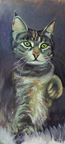 Hermione as Maneke Neko (32 x 16) oil on