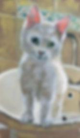 Kitten In The Sink (24x14) oil on board.