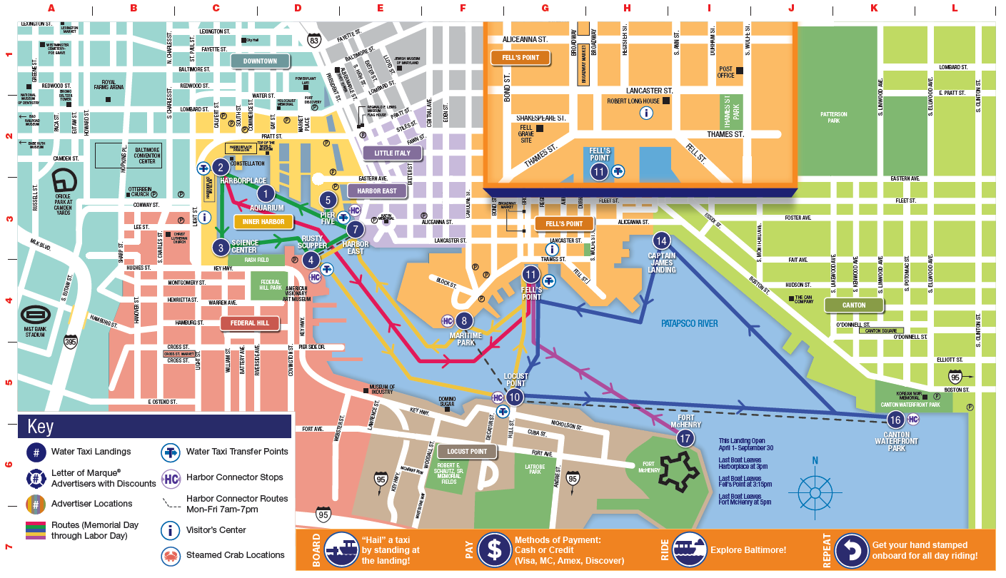 Baltimore Water Taxi Map Baltimore Transit Advisor: Trip planner for bus, train, airport