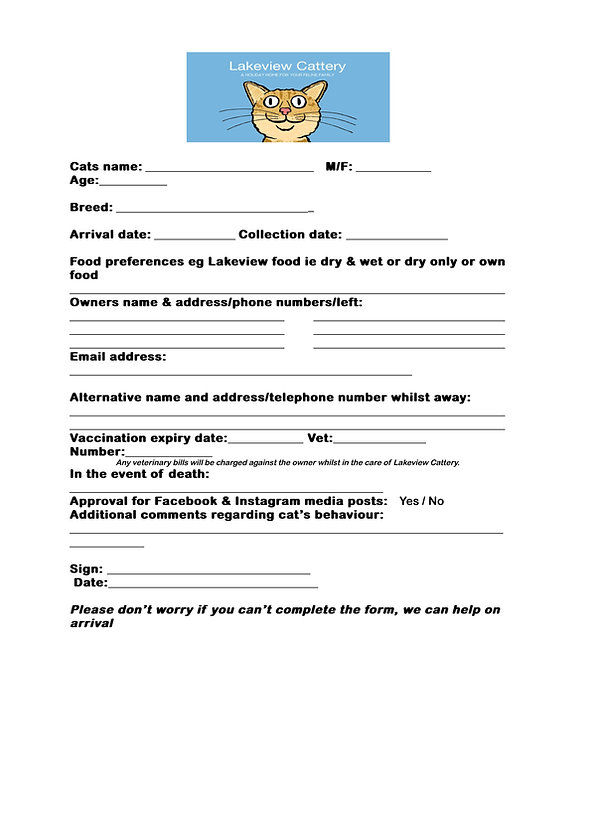 Lake View Cattery arrival form
