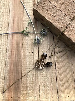 Multi-strand Victorian Button Y Necklace