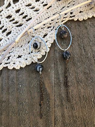 Zebra Jasper Tassel Earrings