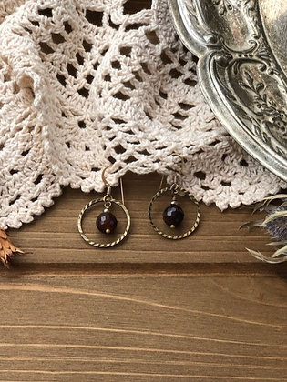 Ring Earrings with Brown Agate