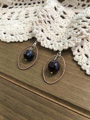 Ring Earrings with Garnet