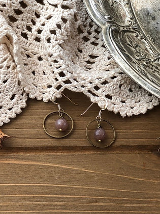 Ring Earrings with Rose Quartz