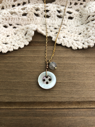 Little Button Charm Necklace with Fluorite
