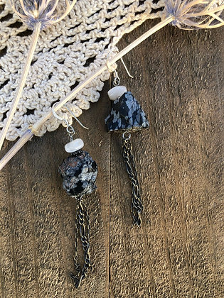 Snowflake Obsidian Tassel Earrings