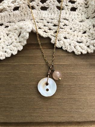 Little Button Charm Necklace with Rose Quartz