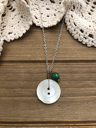 Button Charm Necklace with Turquoise